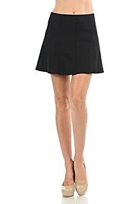 Women's Basic Solid Color Pleated Mini Flare Skirt with Invisible Back Zipper