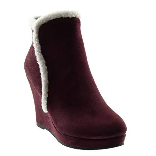 Angkorly - Damskie buty botki - śniegowce - modne / modne - futro obcas klinowy 10 cm, czerwony - czerwony burgund - 39 eu
