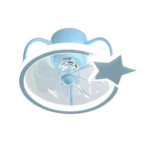 Jun LED Ventilador De Techo Luz Moderno Minimalista Creativo Color Cambiante Control Remoto Multivelocidad Comedor Dormitorio Azul