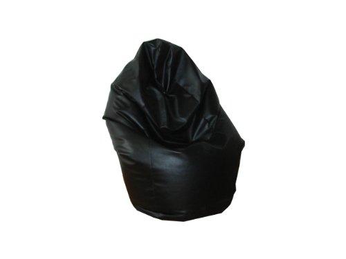Natalia Spzoo Puff Bean Bag puf butaca Polipiel para Adultos y Adolescentes (Negro)