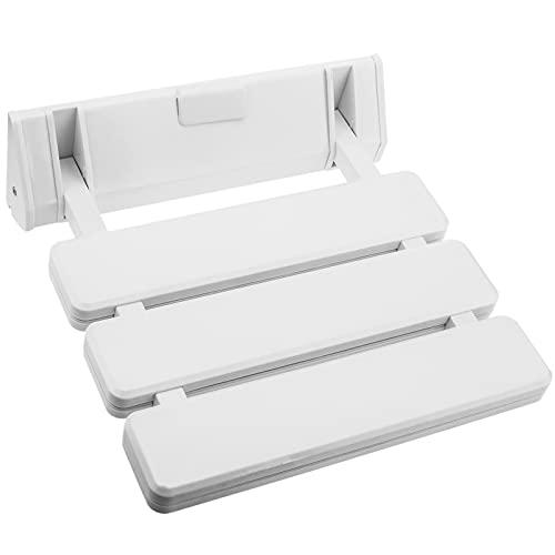 PrimeMatik - Asiento de Ducha abatible. Silla Plegable para Ancianos de plástico y Aluminio Blanco 320x328mm ⭐