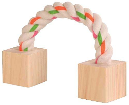 Trixie 6186 Baumwollspielseil mit Holz, Kleintiere, 20 cm