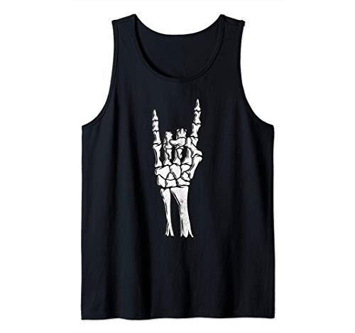 Brazo esquelético gótico Rock Hand Devil Camiseta Halloween Camiseta sin Mangas