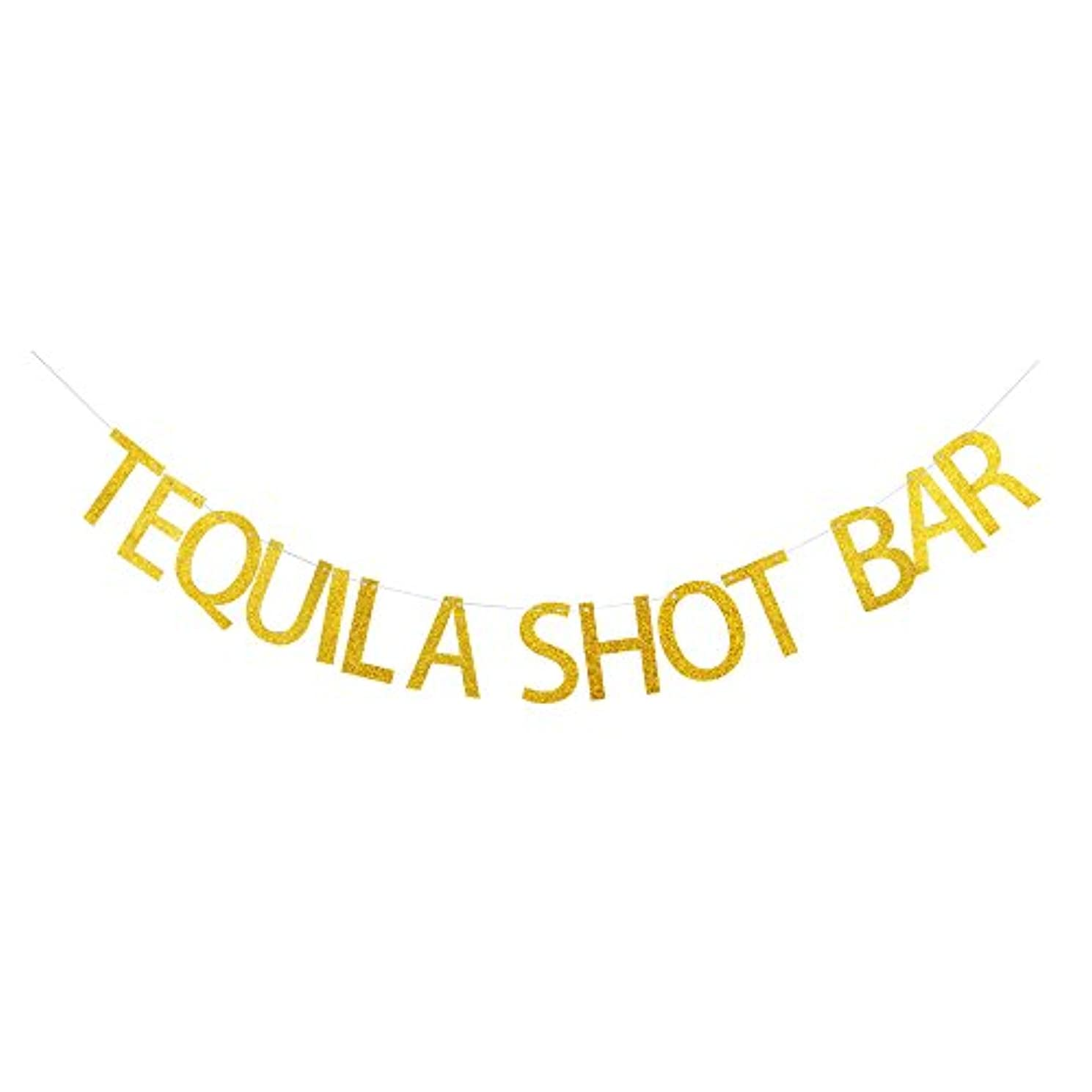 Tequila Shot Bar Banner, Gold Gliter Paper Sign Decors for Birthday/Wedding/Engagement/Drink/Mexican Party