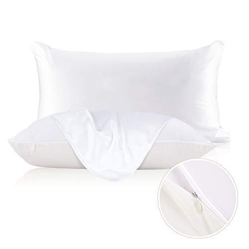 LILYSILK Taie d'oreiller Soie & Coton 1 Pièce Couvre-Oreiller Fermeture Eclair Invisible 19 Momme 50x75cm à Sac Blanc