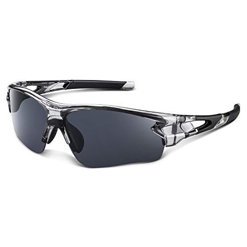 Bea Cool Sonnenbrille Damen Herren Polarized Sonnenbrillen Sportbrille für Baseball Radfahren Angeln Laufen TAC Brille (Transparent grau)