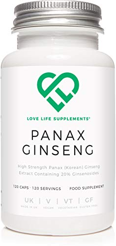 Panax Ginseng by LLS | 120 High Strength Capsules (4 Month Supply) | 300mg per Capsule, 10:1 Extract (3000mg Whole Plant Equivalent) | 20% Ginsenosides | Also Known As Korean Ginseng | Used for Improved Thinking, Concentration, Memory and work Efficiency, Physical Stamina, and Athletic Endurance | Can Alleviate Stress | Premium Supplement Produced in the UK | Love Life Supplements - 'live healthy. love life.'