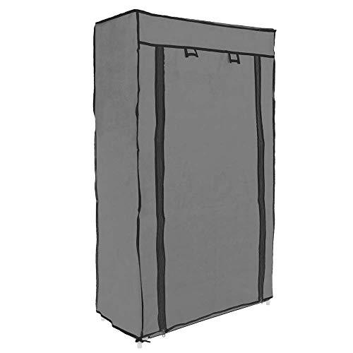 PrimeMatik - Garderobekast en schoenenrek grijs 60 x 30 x 110 cm met oprolbare deur