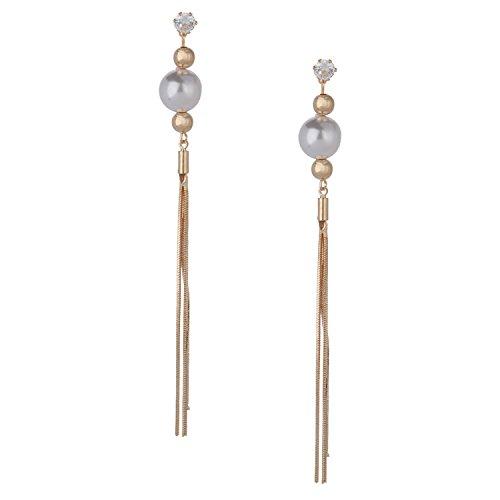 Efulgenz Gold Tone CZ Long Chain Bar Linear Hoop Pearl Tassel with Round Ear Studs Geometric Charm Dangle Drop Earrings for Girls and Women, Wedding Bride Bridesmaids