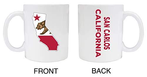 Taza de cerámica blanca de San Carlos California, 2 unidades