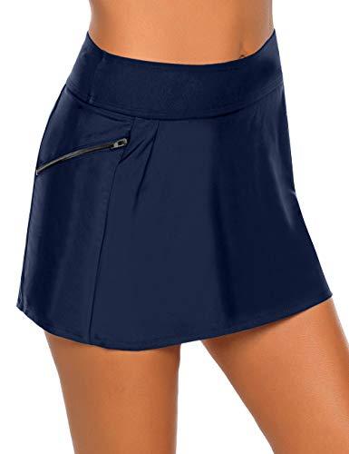 Vetinee Women's Zip Pocket High Waist Bikini Tankini Bottom Swim Skirt Swimsuit Navy Blue Size Medium (Fits US 8-10)