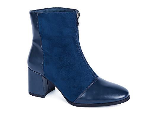 MaxMuxun Botines de mujer con tacón de bloque y cremallera azul botas, color Azul, talla 37 EU
