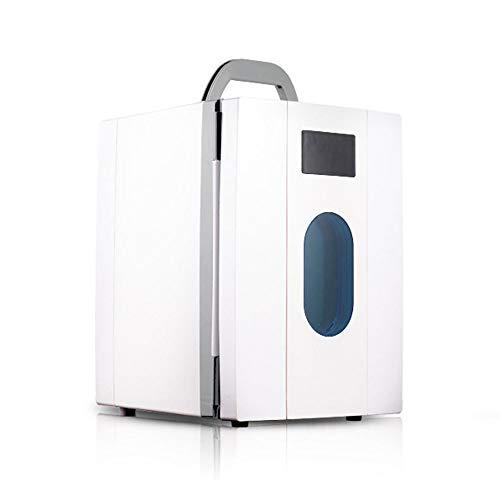 WDFDZSW 10L Car Refrigerator, Household Mini Dual-Purpose Refrigerator 100% Freon-Free & Eco Friendly, Dormitory Cosmetic Mask Fresh Keeping Refrigerator (Color : White)