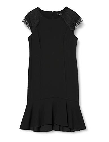 Wallis Damen Schößchen Kleid Fish Tail Lace Scuba Knielang, Schwarz (Black 001), 42 (Herstellergröße: 14)