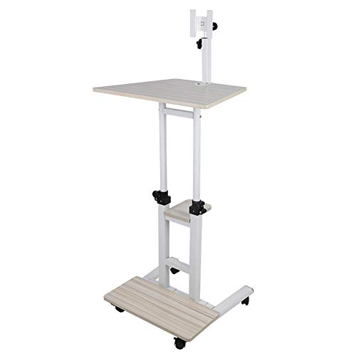 Mobile Table Overbed Table Stand Up Laptop Desk Stand PC Notebook Cart Tray Compact Height Adjustable Workstation Computer Standing Desk Bed Sofa Side End Snack Table with Wheels(White Maple)