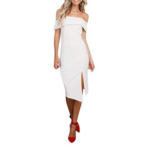 Sayhi Women's Sexy Off-Shoulder Irregular Split Dress Summer Dress for Ladies Knee Length Evening Party Dress(White,M)
