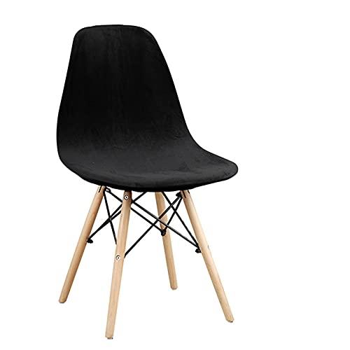 BSZD 1/2/4/6 Stück Samt und Polar Fleece Stoff Stretch Scandinavian Chair Cover, 2021 Waschbare Sitzbezug für Home Hotel (Color : ME Black, Specification : 2 Pcs)