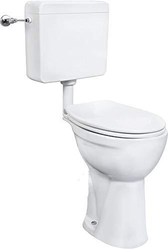 Cornat erhöhtes Stand-WC-Komplettset weiss / Toilette extra hoch 50 cm / Toilette / Flachspüler / Toilette mit WC-Sitz / Toilette mit Spülkasten / Abgang INNEN SENKRECHT