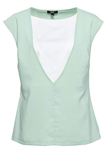 Mexx Damen Top Mit Hinterlegtem V Ausschnitt V Ausschnitt ärmellos Blusentop Unifarben Mit Farbeinsatz