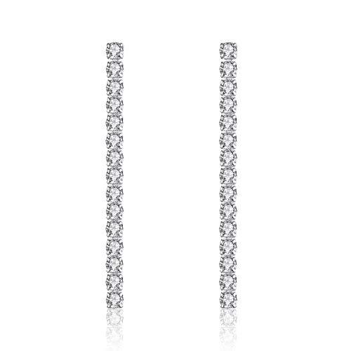 VIKI LYNN Pendientes colgantes de plata de ley 925 con circonita cúbica clásica para mujer
