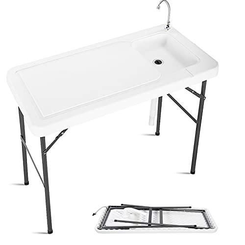 Giantex Folding Fish Cleaning Table, Camping Table with Sink and Faucet, Picnic Table with Drain Hose, Outdoor Cutting Table, Portable Fish Table, 45'x 23.6'x 37.4'