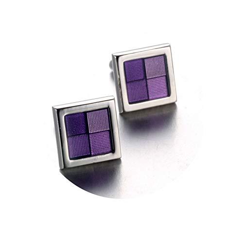 Epinki Gemelos para Hombre Púrpura Cuadros Raya Gemelos de Moda Gemelos Camisas Regalo Caja