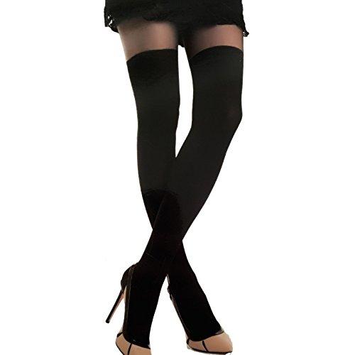Toocool - Calze Collant Donna Nero Fashion Effetto parigine Lingerie Sexy Nuove 1026-MOD [L/XL,Nero]