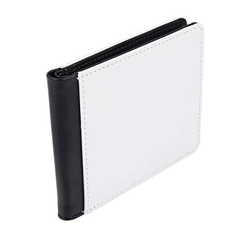 1pc Slim Wallet PU Leather Unisex Wallet DIY Blank Wallet Portable Small Money Pocket for Men Women ( White )