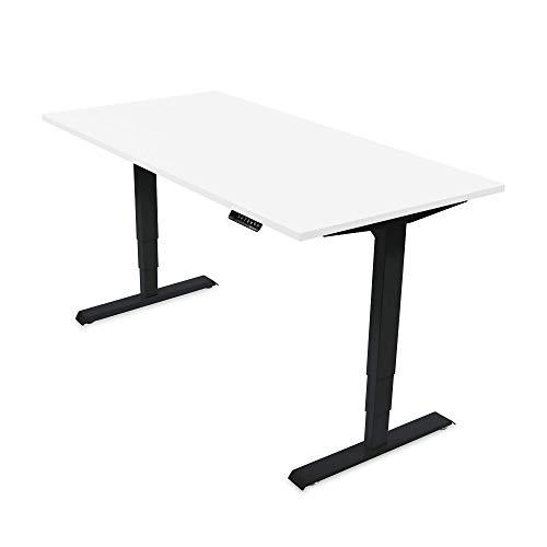 Ergotopia® Elektrisch höhenverstellbarer Schreibtisch | 5 Jahre Garantie | Ergonomischer Steh-Sitz Tisch mit Memory Funktion | Beugt Rückenschmerzen vor & Macht produktiver (160x80 cm, Weiß, S)