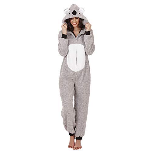 Style It Up Damen Pyjama aus weichem Fleece, Tiermotiv Gr. Large 44-46, Grey Koala