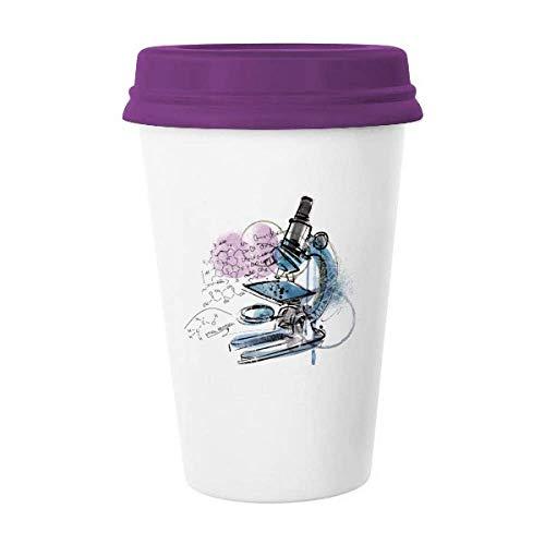 Chemistry Kowledge Microscope Coffee Mug Glass Pottery Ceramic Cup Lid Gift
