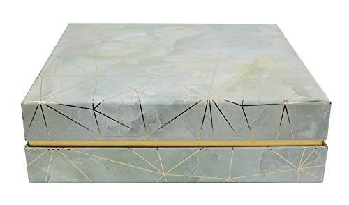 Emartbuy Rigid Quadrato Luxury Presentation Gift Box, 19.5 cm x 19.5 cm x 6 cm, Effetto Marmo Verde Mare Con Linee Oro Origami e Interno a Scacchi Rosa