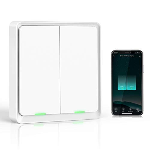 Wifi Interruptor Alexa 2 Gang, Etersky Interruptor Inteligente Compatible con Alexa y Google Home, Interruptor Pared Luz Control APP, Smart Home Interruptor Tactil con Temporizador, Neutral Requerido