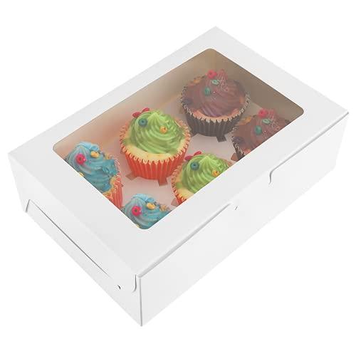 TOYANDONA 20Pcs Boite a Cupcake Boîtes à Biscuits avec Fenêtre et Séparations Parfait Pâtisserie Conteneur à Cupcake Boîtes à Muffins Fête Faveur Boîtes à