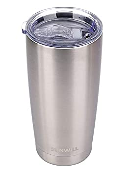 SUNWILL 20oz Tumbler with Lid Stainless Steel Vacuum Insulated Double Wall Travel Tumbler Durable Insulated Coffee Mug Silver Thermal Cup with Splash Proof Sliding Lid