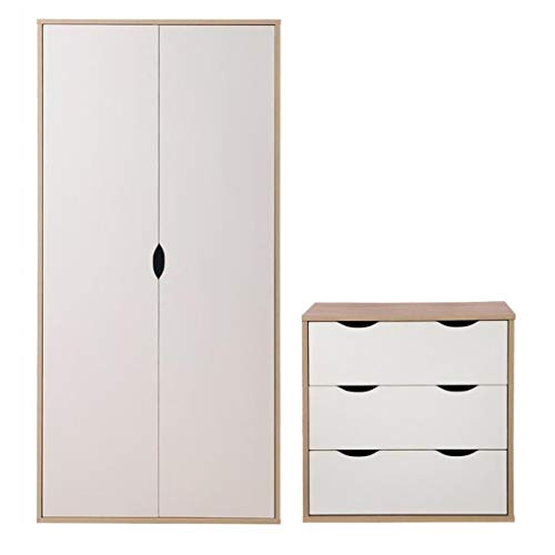 Timber Art Design UK Alton 2 Piece Bedroom Furniture Set Wardrobe Chest of 3 Drawers Sonoma Oak & White