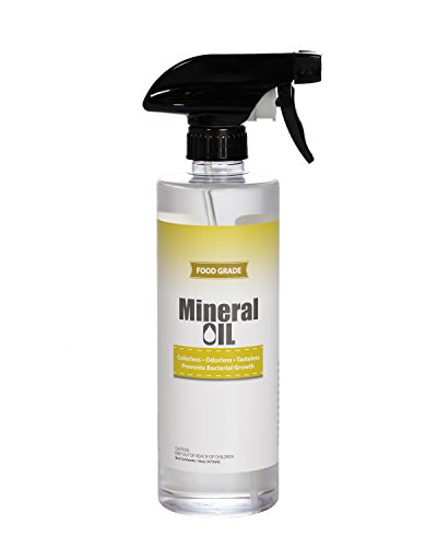 Premium 100% Pure Food Grade Mineral Oil, 16oz Spray Bottle, Butcher Block and Cutting Board Oil