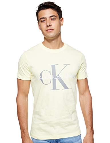 Calvin Klein Vegetable Dye Monogram Slim Tee T-Shirt, Giallo (Mimosa Yellow Zhh), Small Uomo