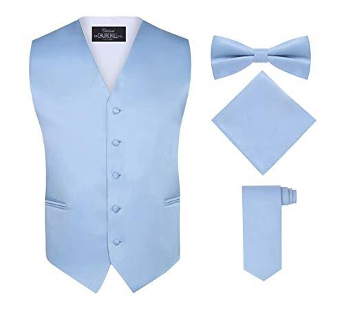 S.H. Churchill & Co. Men's 4 Piece Vest Set, with Bow Tie, Neck Tie & Pocket Hankie - Light Blue, M