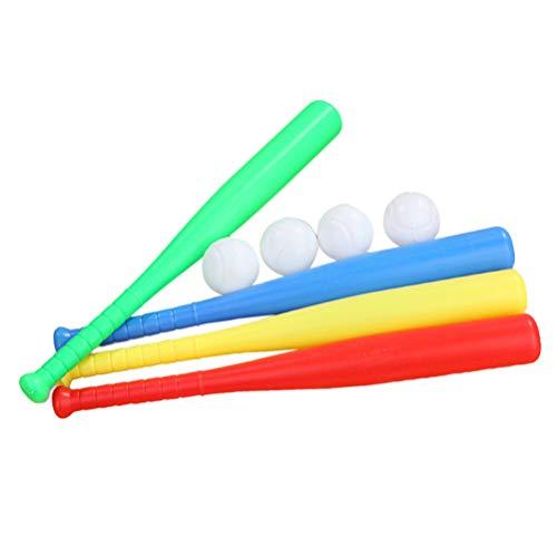 LIOOBO 4 Juegos de Kit de Bate de béisbol de plástico con Juguete de béisbol para niños niños Deportes al Aire Libre Rojo Amarillo Azul Verde Cada Juego