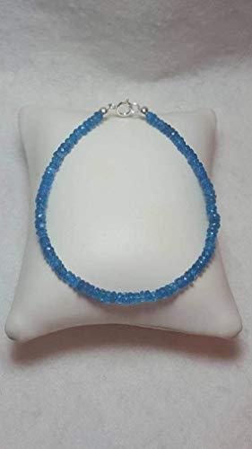 Gemswholesale - Pulsera de Apatita de Neón, idea de regalo, regalo para mamá, regalo para ella, color azul, joyería de recuerdo, gema de 4 a 5 mm