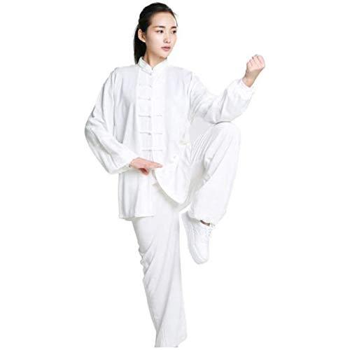 GHJUH Tai Chi Uniforme Tai Chi Esercizio Taekwondo Abito Tai Chi Cinese Kung Fu Abbigliamento Cotone E Lino Wing Chun Zen Meditazione Yoga VestitoWhite-Medium