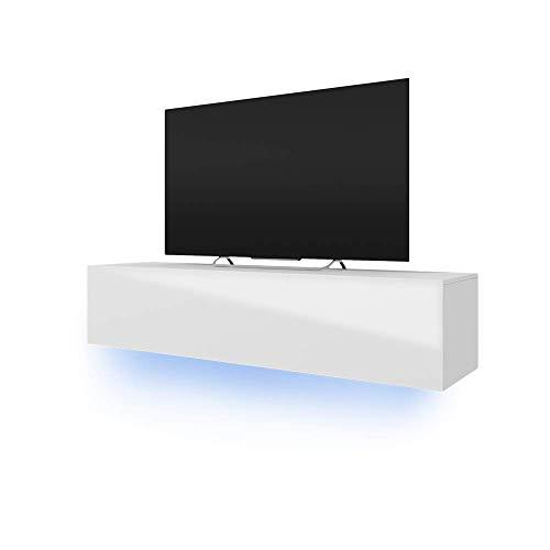 Selsey Skylara – Fernsehschrank/TV-Lowboard mit LED Modern Hängend 160 cm (Weiß Matt/Weiß Hochglanz)