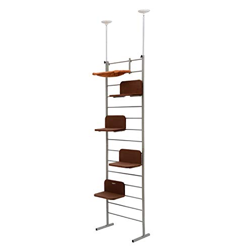 PawHut 108' Floor-to-Ceiling Adjustable Staggered Climbing Cat Tree Tower