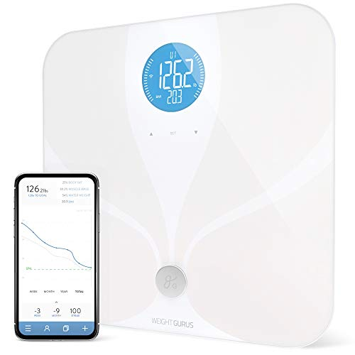 WiFi Smart Connected Body Fat Bathroom Scale by GreaterGoods, Free Service Help Desk Included, Backlit LCD, ITO Conductive Surface Tech, Accurate Precision Health Metrics (WiFi 2019)