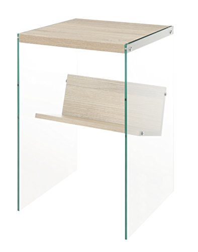 Convenience Concepts SoHo End Table, Weathered White / Glass