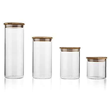 Set of 4 Airtight Glass Storage Jars with Bamboo Lids | Perfect for Cereal, Pasta, Cookies, and Bulk Goods | 3.75  in Diameter | Jar Heights: 3.25 , 5.25 , 7.25 , and 10