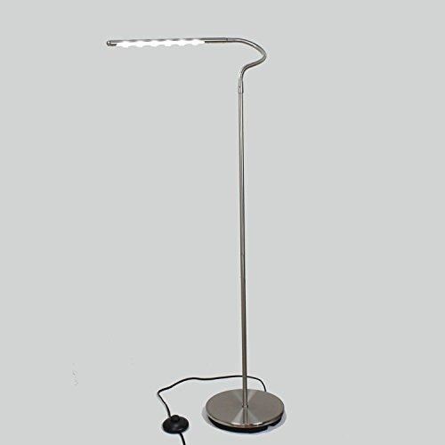 Piantana a testa flessibile–Illuminazione per 6LED bianchi–nichel grigio satinato–Modello rammo