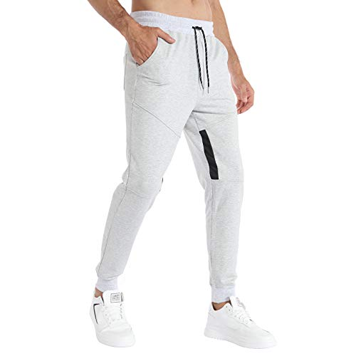 iCKER Jogginghose Herren Baumwolle Sporthose Lang Hose Trainingshose Sweatpants Freizeithose mit Reißverschluss Taschen Jogger Slim Fit,Grau,S