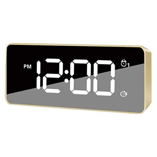 BOINN Reloj Despertador con Espejo Digital LED, Cargador USB, Mesita de Noche,...